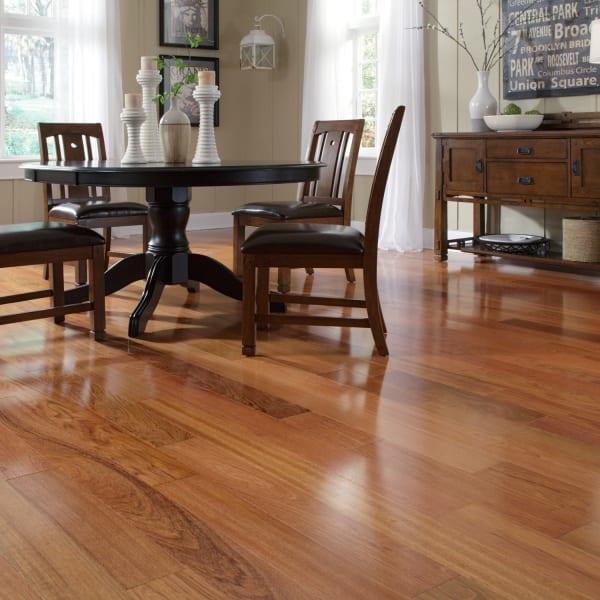Red Brown Select Brazilian Cherry Engineered Hardwood Flooring in Rustic Dining Room