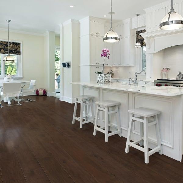 Walnut Engineered Hardwood Flooring in Kitchen and Dining Room