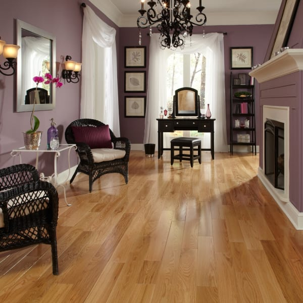 .75 in. x 5 in. Character Red Oak Solid Hardwood Flooring in Traditional Living Room