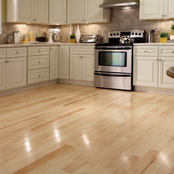 .75 in. x 3 .25 in. Character Maple Solid Hardwood Flooring in Traditional Kitchen