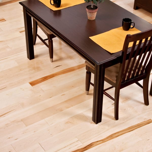 .75 in. x 5 in. Character Maple Solid Hardwood Flooring in traditional dining room