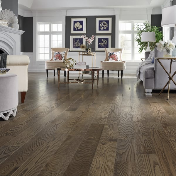 Gray Fox Oak Solid Hardwood Flooring in Living Room