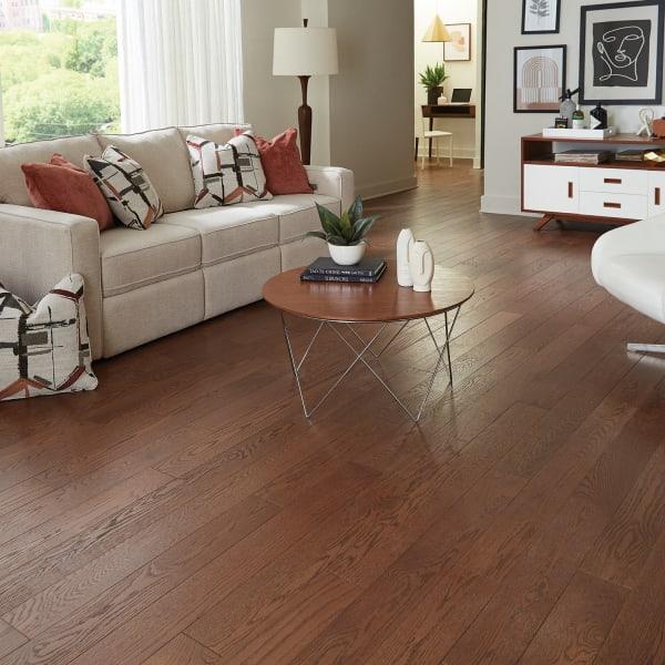 .75 in. x 5 in. Kingston Oak Solid Hardwood Flooring Rustic Living Room