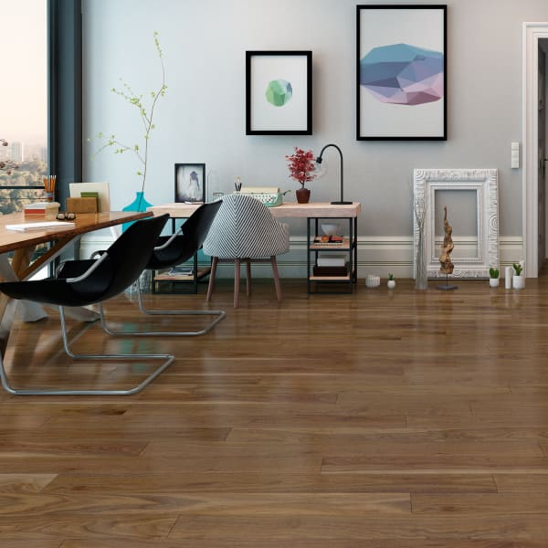 Honey Walnut High Gloss Laminate Flooring in Living Room and Office