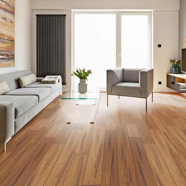 Raleigh Strand Distressed Wide Plank Engineered Click Bamboo Flooring Rustic Living Room