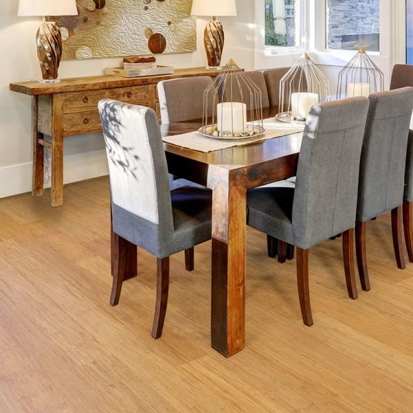 Strand Natural Wide Plank Engineered Bamboo Flooring in Dining Room