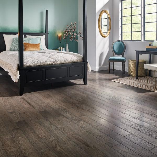 Slate Oak Solid Hardwood Flooring in Bedroom