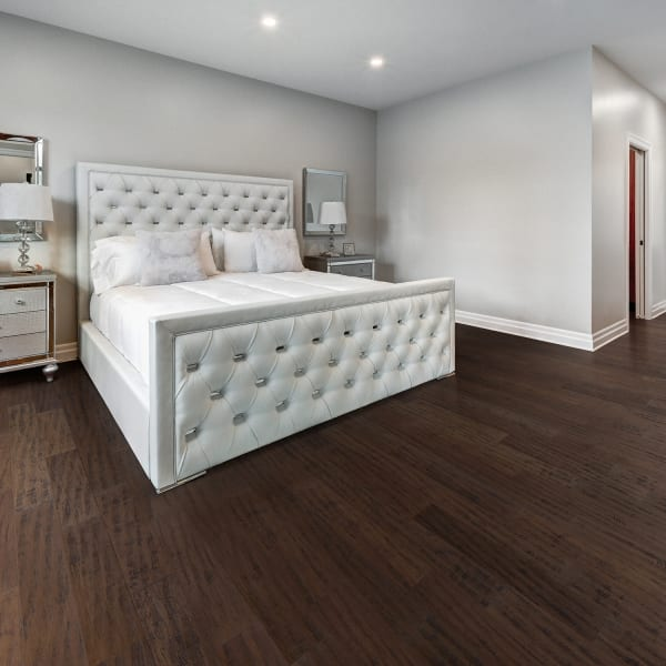 Madison County Strand Distressed Wide Plank Engineered Click Bamboo Flooring in Bedroom
