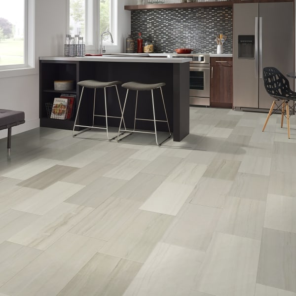 Cabrillo Gray Porcelain Tile in Kitchen and Living Room