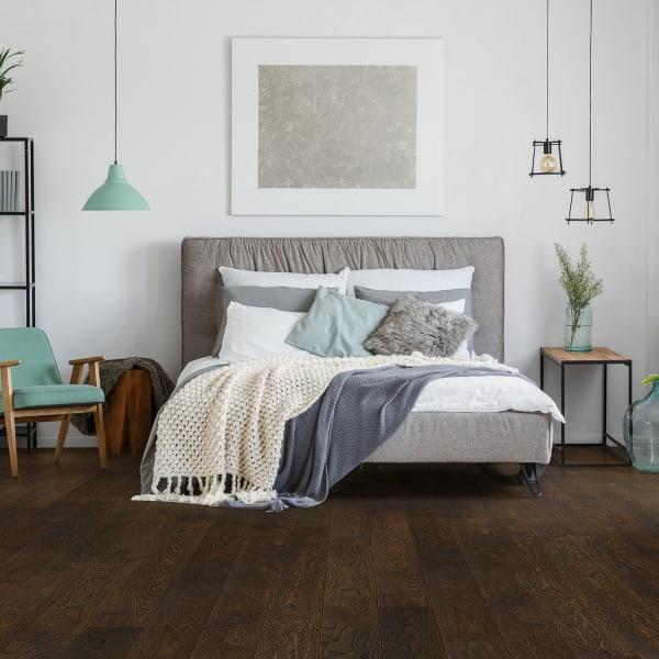 Palisade Oak Wire Brushed Engineered Hardwood Flooring in Contemporary Bedroom