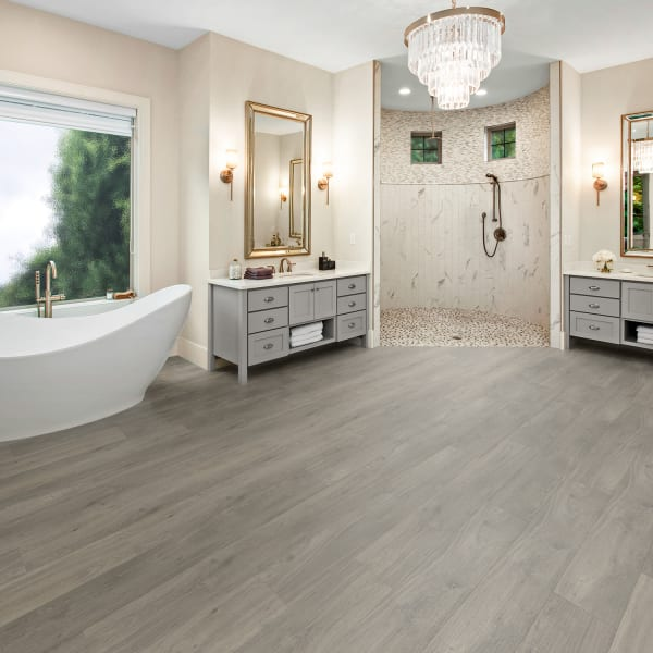 Lake Geneva Oak Engineered Vinyl Plank Flooring in Bathroom