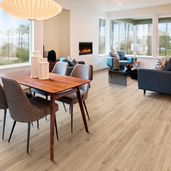 Meribel Elm Engineered Vinyl Plank Flooring in Living Room and Dining Room