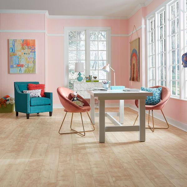 Buckingham Poplar Engineered Vinyl Plank in Office and Playroom