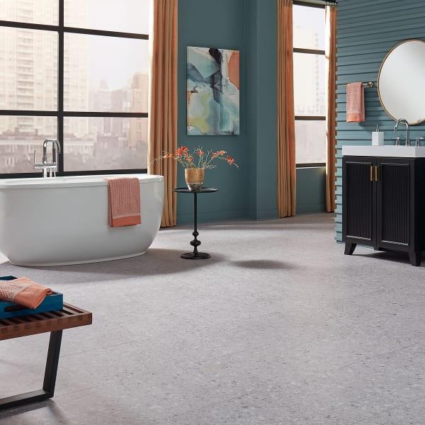 6mm with pad Seminato Sterling Engineered Vinyl Plank Flooring in Modern Bathroom