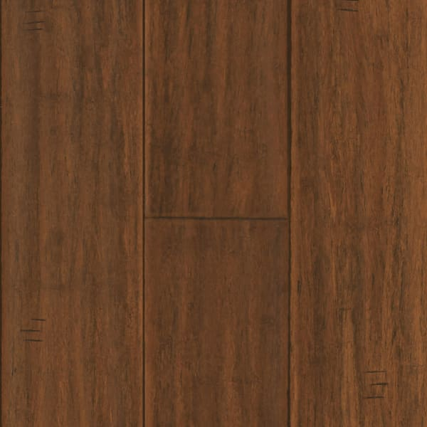 Bismark Strand Distressed Wide Plank Engineered Click Bamboo Flooring in Rustic Living Room Swatch