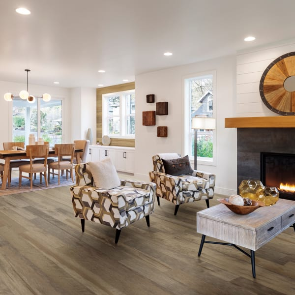 Rattan Maple Distressed Engineered Hardwood in Living Room and Kitchen
