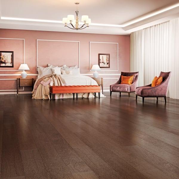 Coffee Brazilian Oak Engineered Hardwood Flooring in Glam Rustic Bedroom