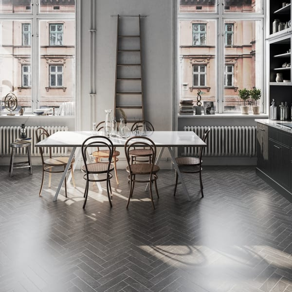 Burgess Gray Brick Laminate Flooring in Kitchen and Dining Room