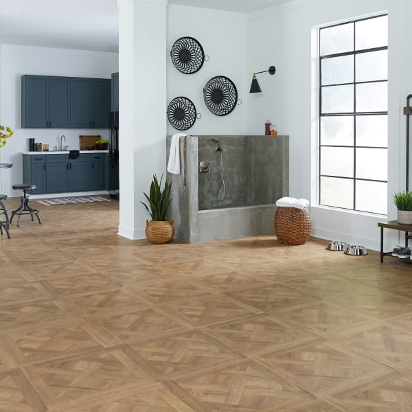 Draper Parquet Laminate Flooring in Kitchen, Entryway, and Mudroom