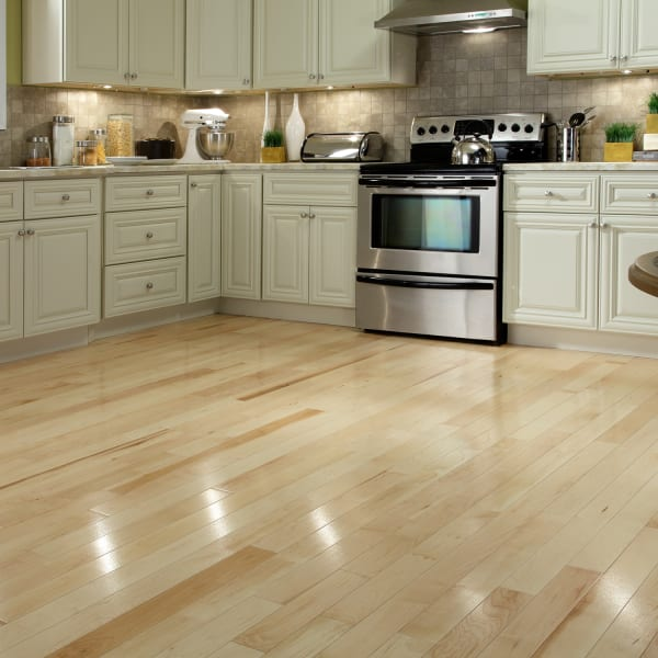 Select Maple Quick Click Engineered Hardwood Flooring Large Swatch in Modern Kitchen