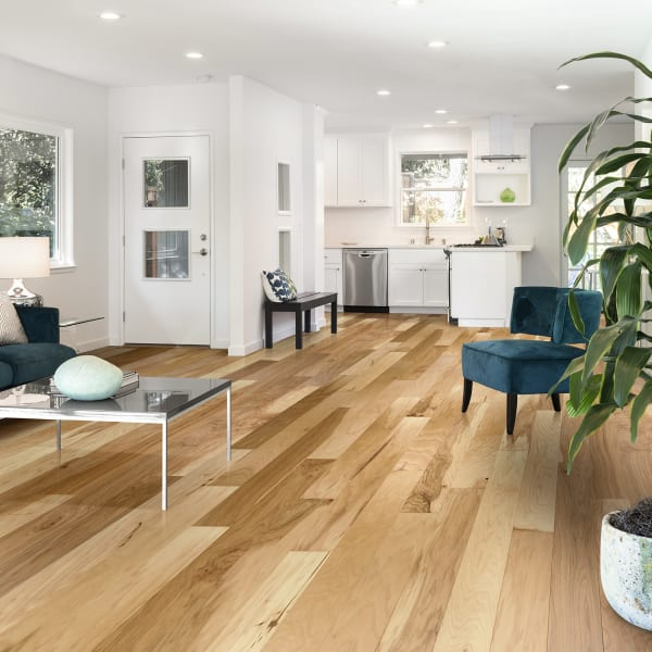 Kennecott Hickory Quick Click Engineered Hardwood Flooring in Traditional Living Room