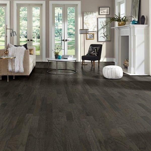 Onyx Oak Black Engineered Hardwood Flooring in Modern Living Room