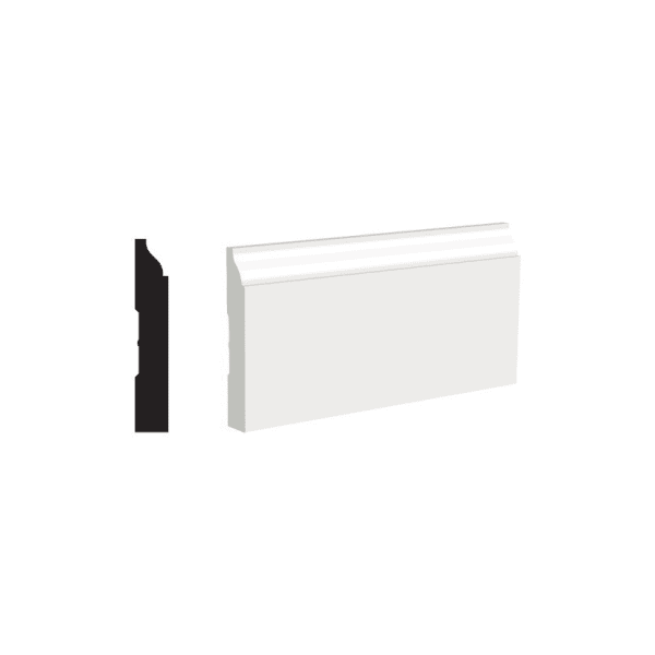 White Molding Painted 1/2 x 3-1/4x8 Baseboard