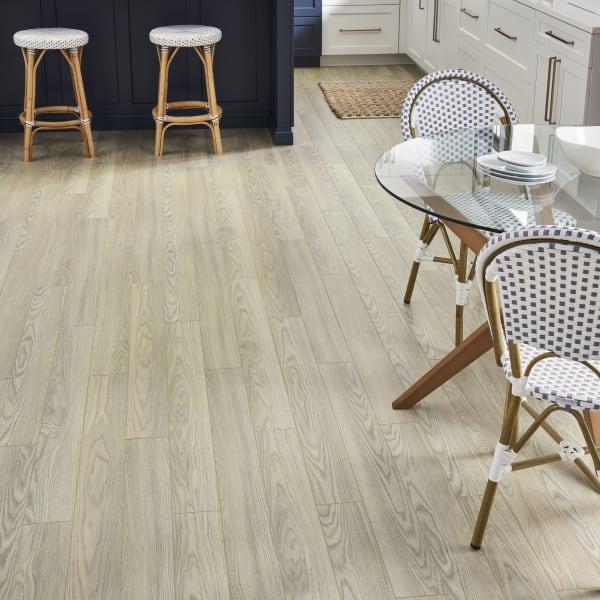 Island Dune Oak Laminate Flooring in Kitchen and Living Room