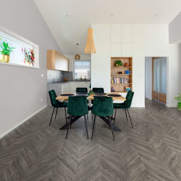 Pacific Coast Oak Chevron Engineered Vinyl Plank Flooring in Dining Room and Kitchen