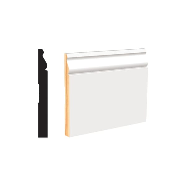 """White Primed Finger Joint Colonial Base 9/16"""" x 5-1/4"""" x 8' PFJ Primed Colonial Baseboard"""