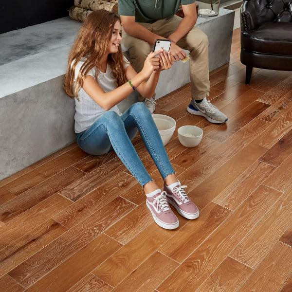 North Hamption Hickory Solid Hardwood Flooring with Girl Sitting