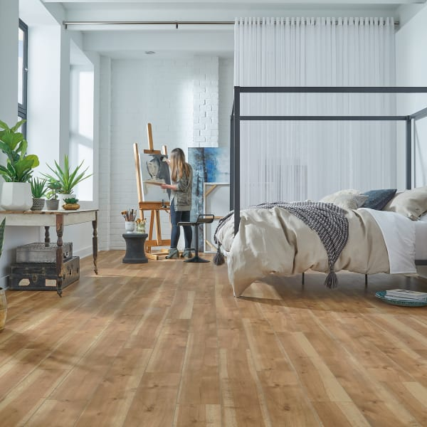 Castle Hill Birch Engineered Vinyl Plank Flooring with Woman Painting