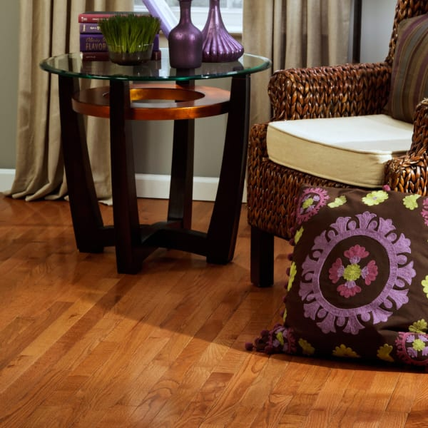 Classic Gunstock Oak Solid Hardwood Flooring in Living Room